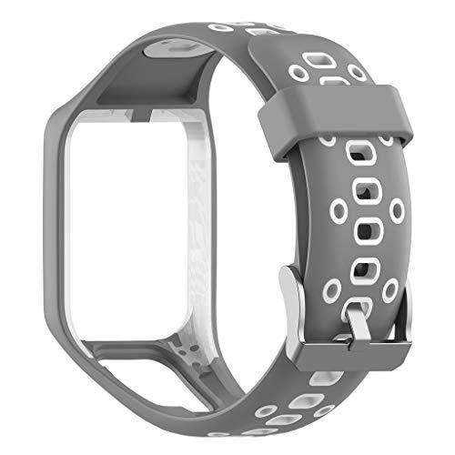 Mumuj Soft Silikon Armband, Silikonhülle Sports Band Ersatzband Atmungsaktiv Wasserdicht Verschleißfest Uhrenarmband Für Tomtom Runner 2/3 Spark / 3 (Grau)
