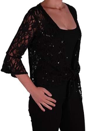 EyeCatch Oversize 12-26 - Darcey Ladies Sequin Cardi Tie Shrug Lace Bolero Top Womens Plus Size Black 12-14
