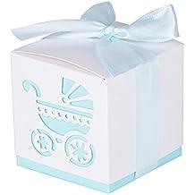 50Pcs Cajas de Bautizo Caramelo Bombones Cumpleaños Dulces Regalos Detalles para Invitados de Boda Fiesta Comunion o Bautizo con Cintas (Azul)
