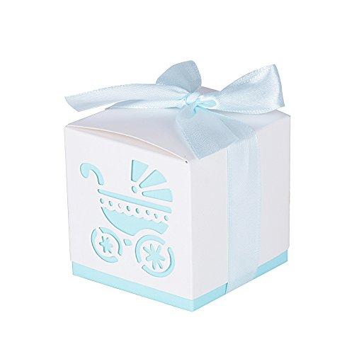 (6 * 6 * 6cm) 50 pz scatoline portaconfetti di carta con nastrino 'passeggino' bomboniere segnaposti per battesimo compleanno festa (celeste)