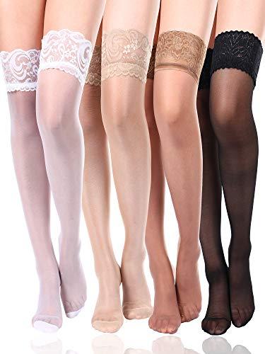 Boao 4 Paar Damen Oberschenkel Hohe Strumpf Silikon Spitze Top Strümpfe Seidige Strumpfhose für Damen Mädchen (Farbe Set 4)