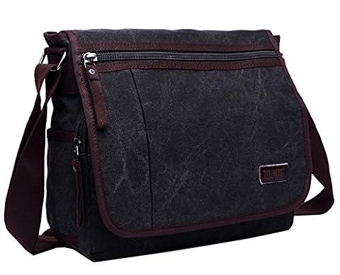 Moderne Umhängetasche, Laptop-Tasche, Computer-Tasche, aus Canvas, für Männer und Frauen, Herren, schwarz