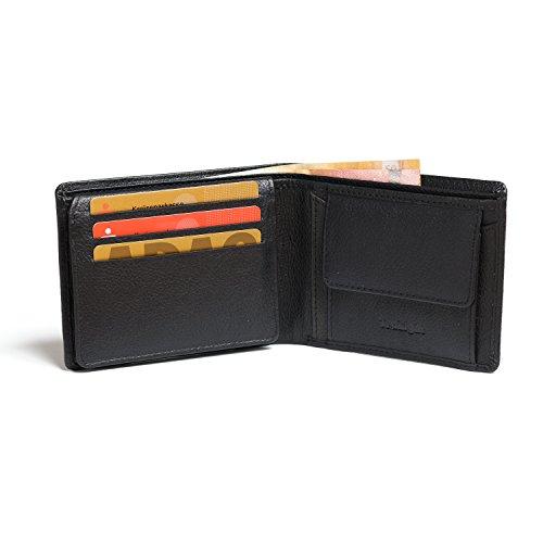 TraLight Geldbeutel Samoa im Querformat mit RFID Schutz inkl. Geschenkbox Schwarz Echtleder | Portemonnaie Portmonaise Geldbörse Herrengeldbeutel Herrenbörse Herrengeldbörse Portmonee Wallet