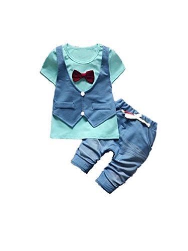 JYJM Kinder Kleinkind Baby Jungen Handsome T-Shirt Tops Weste Hosen Kleider Outfits Set (1 bis 3 Jahre alt) (Größe:2 Jahr alt, Blau)