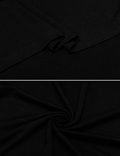 Zeagoo Damen Sommerkleid Neckholder Ärmellos Partykleid Cocktailkleid A-Linie Rockabilily Ballkleid Knielang Vokuhila #02Schwarz