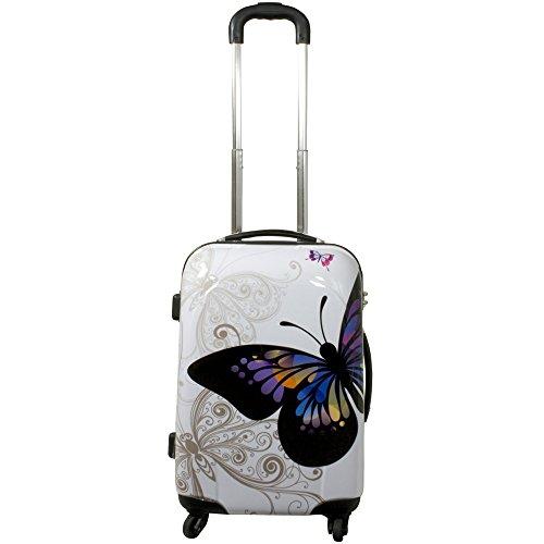 JEMIDI Koffer 40 Liter Reisekoffer Hartschalenkoffer Trolley Designer Kofferset Butterfly (40 Liter)