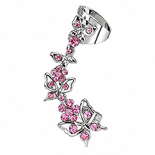 Piersando® Ohrklemme Ear Cuff Fake Tragus Ohr Helix Ring Piercing Schmetterling mit Kristall rechtes Ohr (Diamant Ohrringe Fake)