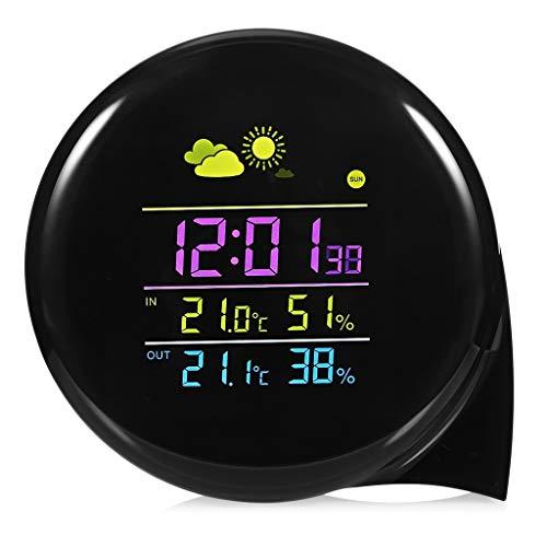 Liutao Store - Thermometer & Messinstrumente Hochpräzise Funkwetterstation Tragbare Indoor-Außentemperatur- und Luftfeuchtigkeitsüberwachung Alarm Fernbedienung (Color : Black, Größe : 4 * 3.89inch)