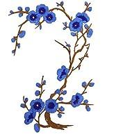 LUFA Flor de ciruelo Parche de flores Apliques de flores Ropa Bordado Etiqueta engomada de la