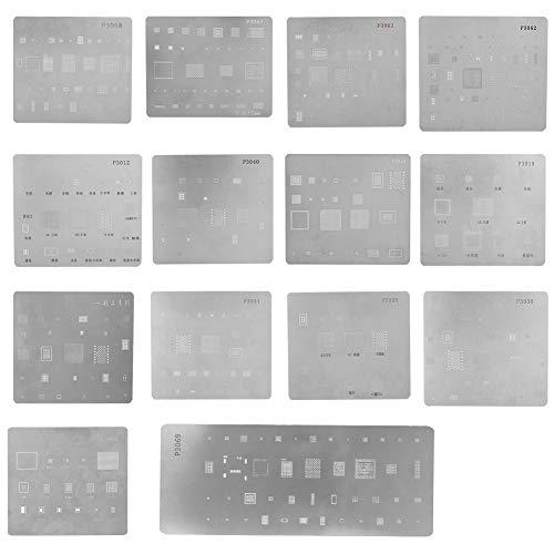 Bewinner Mehrzweck-BGA-Reballing-Schablone, 14 Stücke Professionelle Pflanzung Zinnnetz BGA IC-Chipset für iPhone, Ersatzteile & Reparatur-Sets Hochpräzise Reparatur-Tools für iPhone