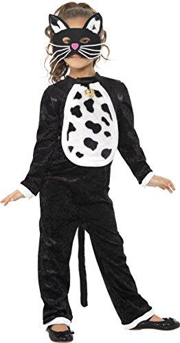 Smiffys, Kinder Mädchen Katzen Kostüm, Bodysuit mit Glöckchen und Maske, Größe: M, - Kostüm Idee Katze