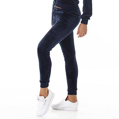 VOYELLES Damen Velours Jogginganzug, lange Freizeithose in vielen Farben und Größen erhältlich, S M L Marine Blau