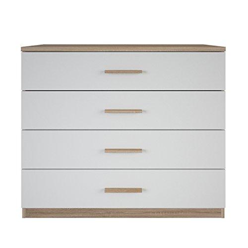 demeyere Selena Kommode, Spanplatte, Sonoma Eiche/weiß, 100 x 41.6 x 84.7 cm - Schublade, Breite Kommode