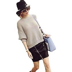 Mini falda mujer, Culater faldas de cortas, cuero de poliuretano (M)
