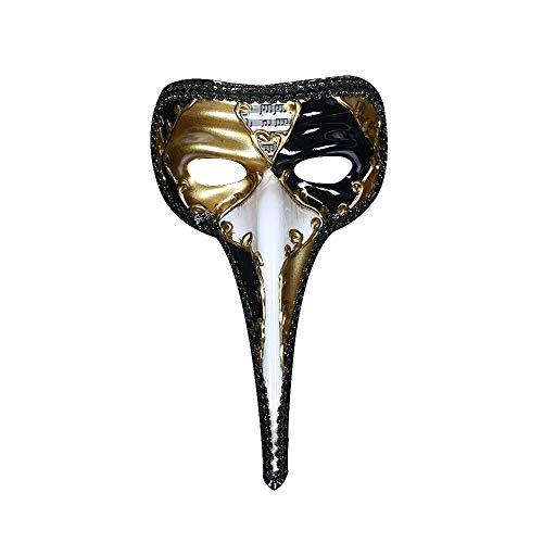 Mikepie maschera veneziana carnevale, medico della peste, piccolo becco naso lung, maschera a campana mezza faccia, per partito di halloween, natale travestimento maschera, uomo e donna golden