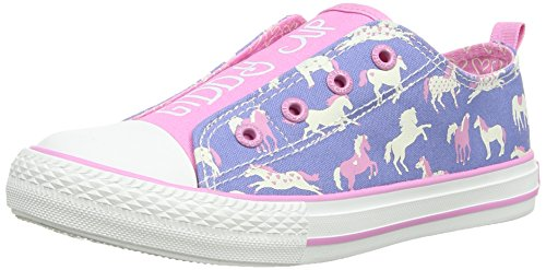 Hatley Hearts And Horses, Chaussons Sneaker Fille Bleu (Blue)