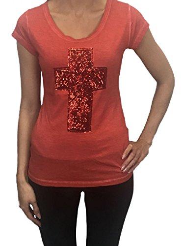 Urban Surface Damen Vintage Shirt mit Kreuz Applikation Top rot Rot