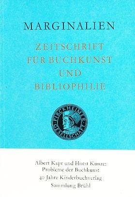 Marginalien 116 / 1989. Zeitschrift für Buchkunst und Bibliophilie.