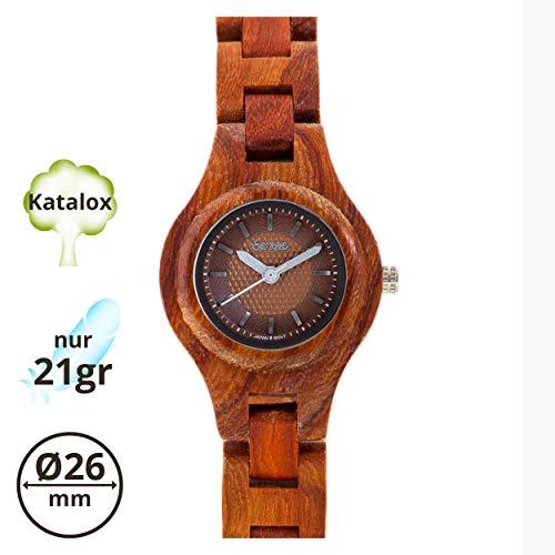 TENSE Pacific Damen Holzuhr analog Quarz-Armbanduhr Katalox