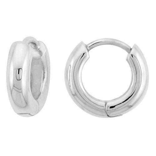 Umarmung Ohrringe für Herren und Frauen aus Sterling Silber,einwandfreie Politur,U-Schliff,10 mm gross
