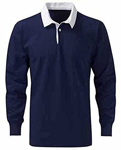 Mens Premium Cotton Rugby Shirts - SPORT WORK CASUAL - Size 3XL - XXXL, Color NAVY BLUE / WHITE