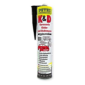 Petec 94730 K&D Karosserie Klebe und Dichtmasse schwarz, 310 ml