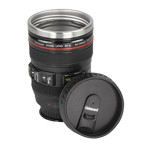 Grinscard - Tazza termica da viaggio con ventosa e tappo a vite, design obiettivo per fotocamera, 0,4 l, colore: Nero