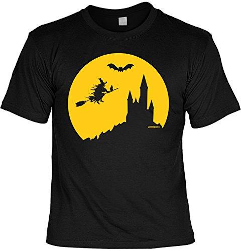 Halloween T-Shirt - Coole Sprüche/Motive - Kostüm Halloweenparty : Halloween Hexe - Halloweenshirt Hexe Fledermaus Burg Gr: XXL (Halloween-t-shirt-kostüme)