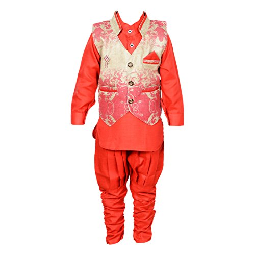 ahhaaaa's Kurta, Pant with Waistcoat for Boys GLD203_Red Color_12-18 Months