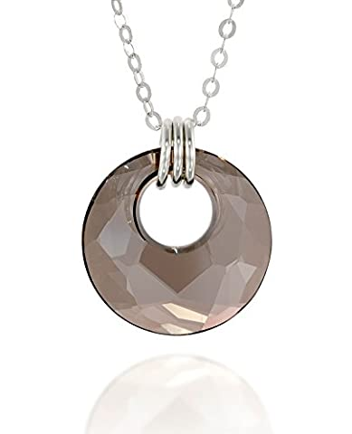 Original Swarovski Satin Gray Crystal Circle Pendant 925 Sterling Silver
