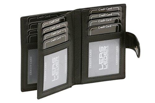 12 ranuras para tarjetas de crédito, tarjetas de crédito Page 4 compartimentos vista, identificación de MLS 2 bolsillos vista, tarjeta de identificación de MLS y tarjeteros se cosen, MLS 12,5 x9cm