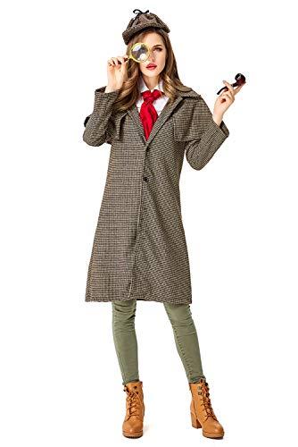 Sherlock Holmes Kostüm für Erwachsene,Detektiv Kostüm Damen Detektivkostüm Dedektivkostüm Mantel + Detektiv-Mütze - Detektiv Für Erwachsene Damen Kostüm