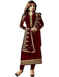 Justkartit Women's Stylish Heavy Embrodiery Salwar Kameez Straight Cut Suits 2018