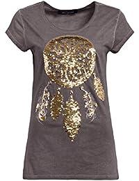 430d63c1cdb3 Blue Monkey T-Shirt Oil Wash mit Tribal-Pailletten Damen Rundhals Halbarm  Casualmode T-Shirt Pailletten Casual…