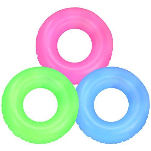 com-four® 3X Schwimmreifen, Schwimmring in verschiedenen sommerlichen Farben [Auswahl variiert], Ø 67 cm (03 Stück - Ø 67 cm Einfarbig)