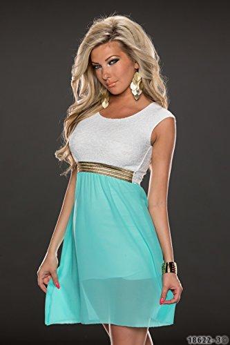 Moulante pour femme 4380 fashion4Young mini-robe sans manches, 3 coloris disponibles :  36/38 - Türkisgrün Weiß