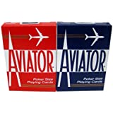2 Decks Aviator Cards Red/Blue Poker Size Reg Index