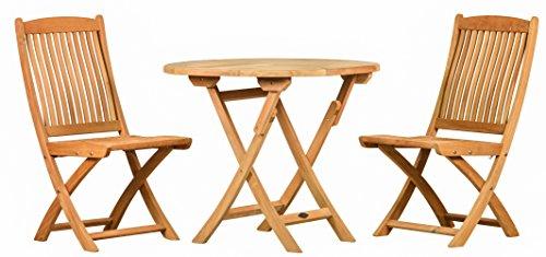 Sitzgruppe 3 Tlg. aus haltbarem Teakholz  2x Klappstuhl + 1x Tisch  Wetterfest  Nachhaltiges Plantagenholz  Klassisch geformte Balkon-Gruppe, Sitzgruppe aus Holz