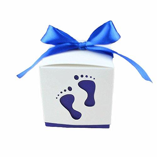 Florateck Blumentopf 50PCS Baby Dusche Gastgeschenken Cute Baby Fußabdruck Design Schokolade Verpackung Box Candy Box Geschenk-Box für Kinder Geburtstag Baby Dusche Gäste Hochzeit Party Supplies