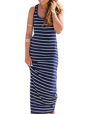 Choies Women's Cotton Stripe Bodycon Vest Dress Summer Shirt Maxi Dress XL