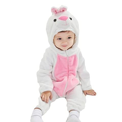 Baby Mädchen Jungen weiß Osterhase Einteiler Alice im Wunderland Halloween Kostüm Kleid Outfit - Weiß, 6-9 months (70cms)