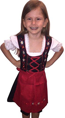 Preisvergleich Produktbild Dik03 Dirndl für Kinder,  3 teiliges Trachtenkleid in rot schwarz,  Kleid mit Bluse und roter Schürze für Mädchen,  Gr. 146
