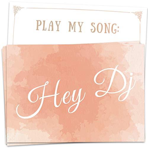 50 Musikwunschkarten Lachs, DJ-Karten für Hochzeit, Geburtstagsfeier, Party, Silvester, etc, größere Musik-Vielfalt durch individuelle Gäste-Wünsche - hochwertiger Premium-Karton, DIN A7