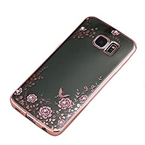 KC Shockproof Silicone Soft TPU Transparent Auora Pink Flower Case with Sparkle Swarovski Crystals for Samsung Galaxy S7 Edge(Rose Gold)