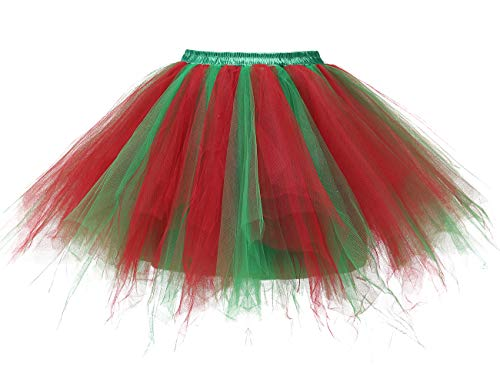 bridesmay Tutu Damenrock Tüllrock 50er Kurz Ballet Tanzkleid Unterkleid Cosplay Crinoline Petticoat für Rockabilly Kleid Red Green M