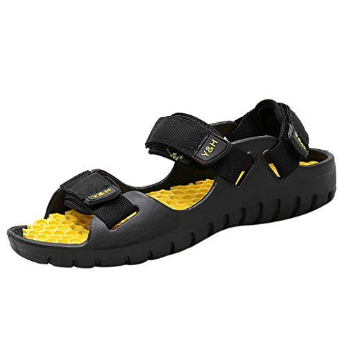 iHAZA Männer Casual Sandale Schuhe Sommer Open Toe Dick Vintage Flip Flops Schuhe