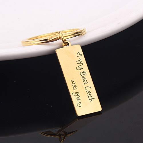 DCFVGB Mein Bester Fang War Sie Schlüsselbund Liebhaber Paar Geschenk Hand Gestempelt Trendige Schlüsselanhänger Liebe Schmuck Charme Schlüsselanhänger Inhaber Tag (Schmuck-geschenk-card-inhaber)