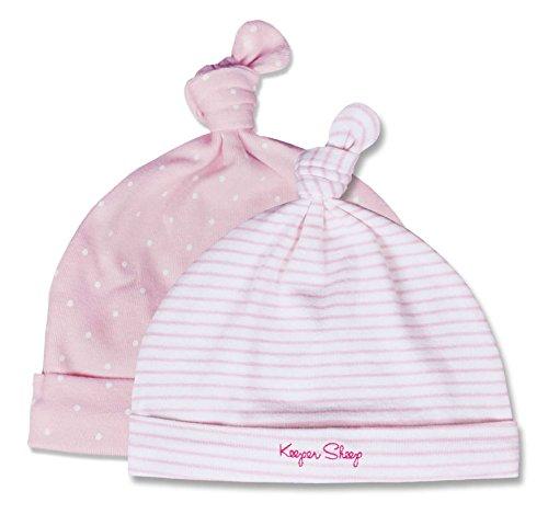 Baby Hat Beanie Hat, keepersheep Baby Girl Boy verstellbar Knoten Beanie Hat Set, Neugeborene Krankenhaus Hat Gr. 50, Pink white stripe and Pink white dot