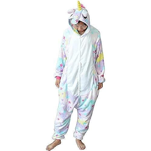 pijama de unicornio kawaii Pijama Unicornio para Adultos Pijama Animal Invierno Entero de Franela Unisex Pijama Mono Animal Disfraz Navidad para Mujer Hombre