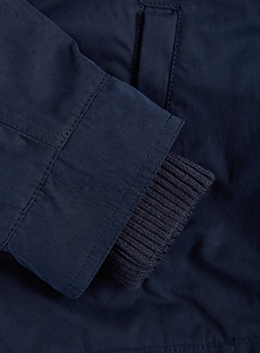 oodji Ultra Femme Parka Décoré de Simili Cuir avec Poches à Rabats Bleu (7900N)